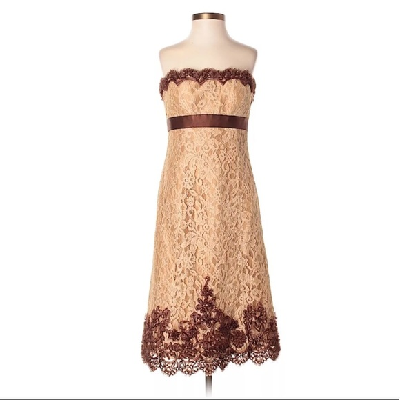 Badgley Mischka Gold Brown Lace Formal Dress 4